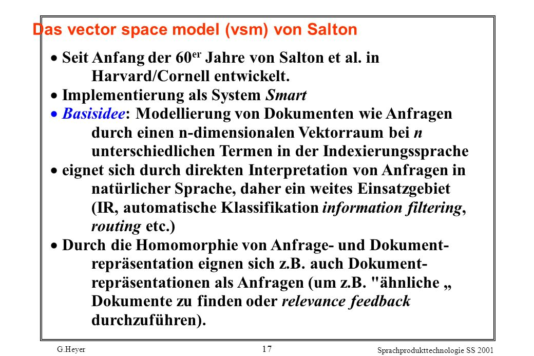 Das vector space model (vsm) von Salton