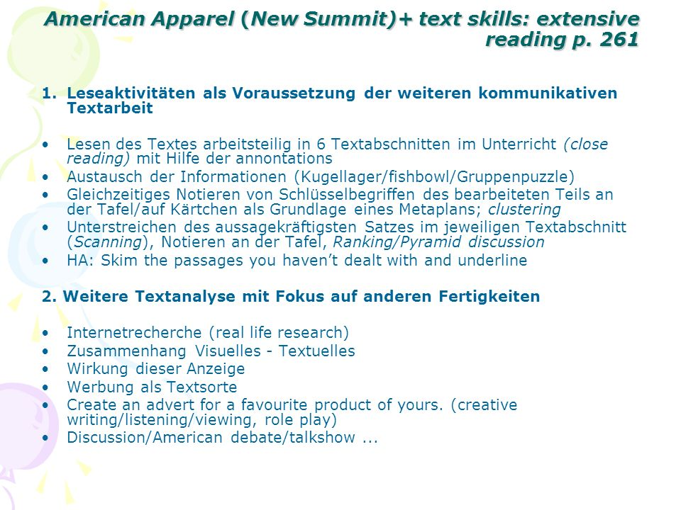 American Apparel (New Summit)+ text skills: extensive reading p. 261