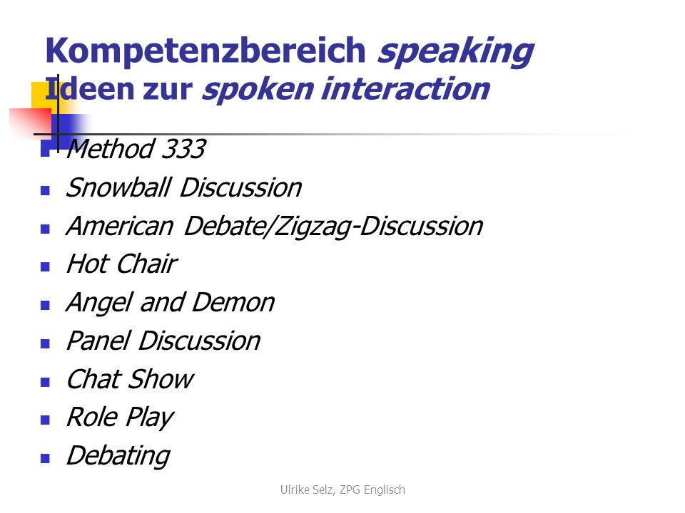Kompetenzbereich speaking Ideen zur spoken interaction