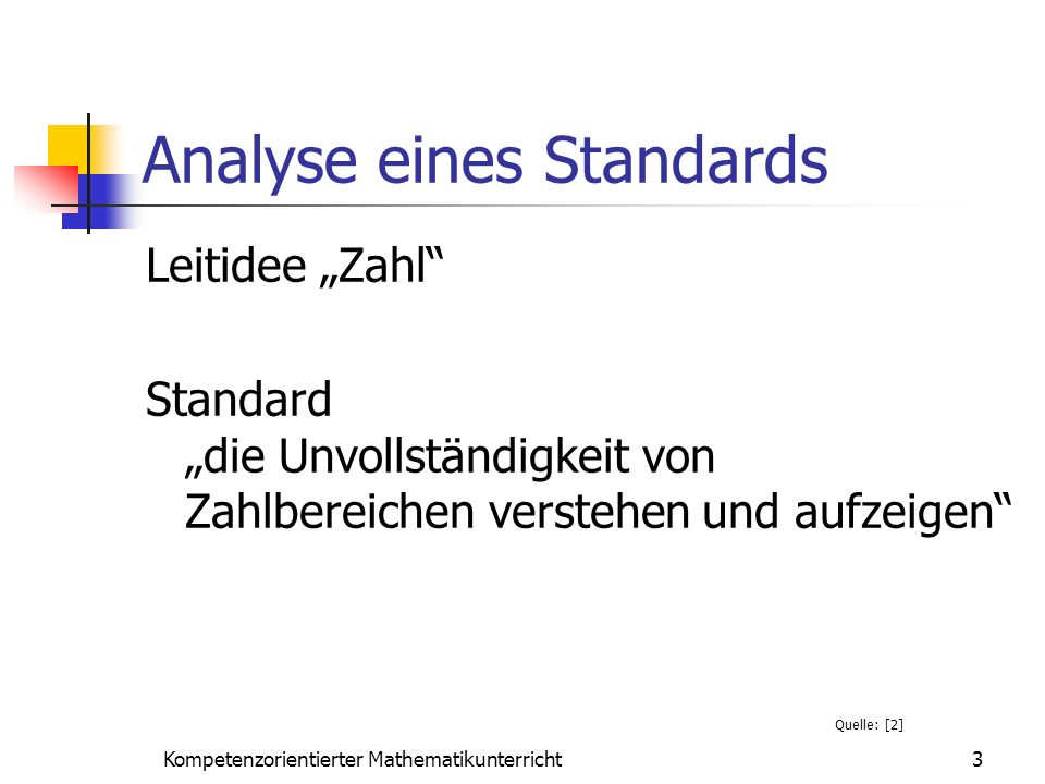 Analyse eines Standards