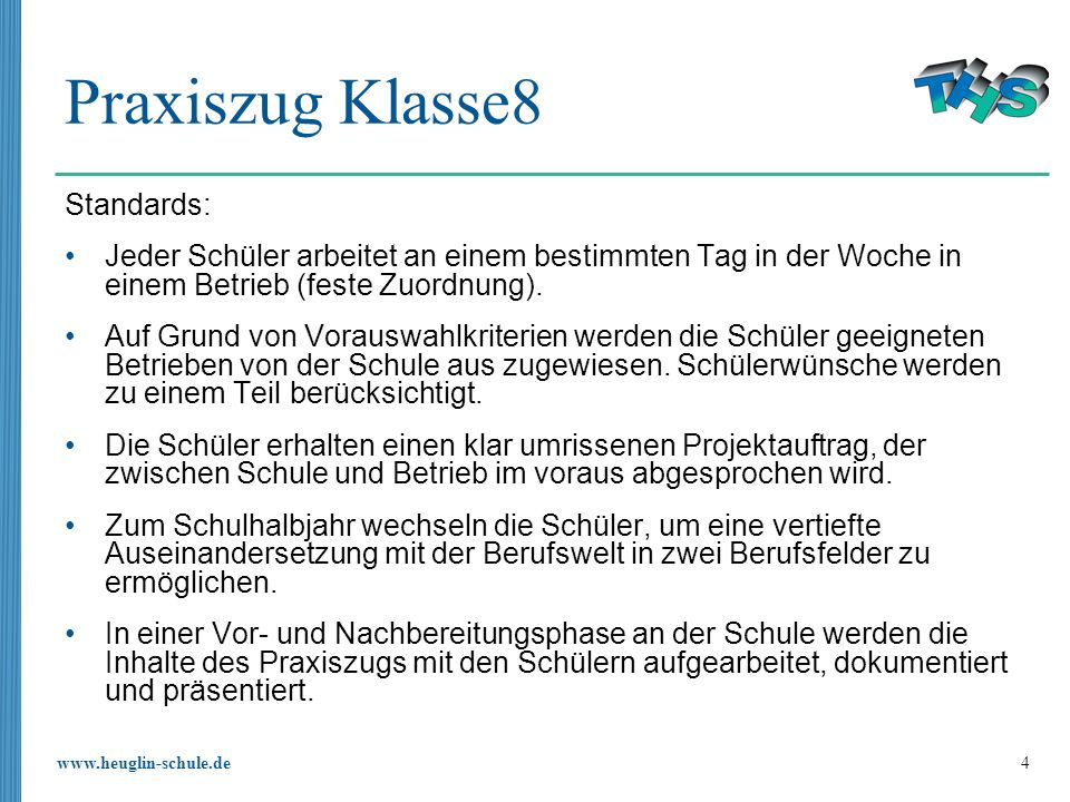 Praxiszug Klasse8 Standards: