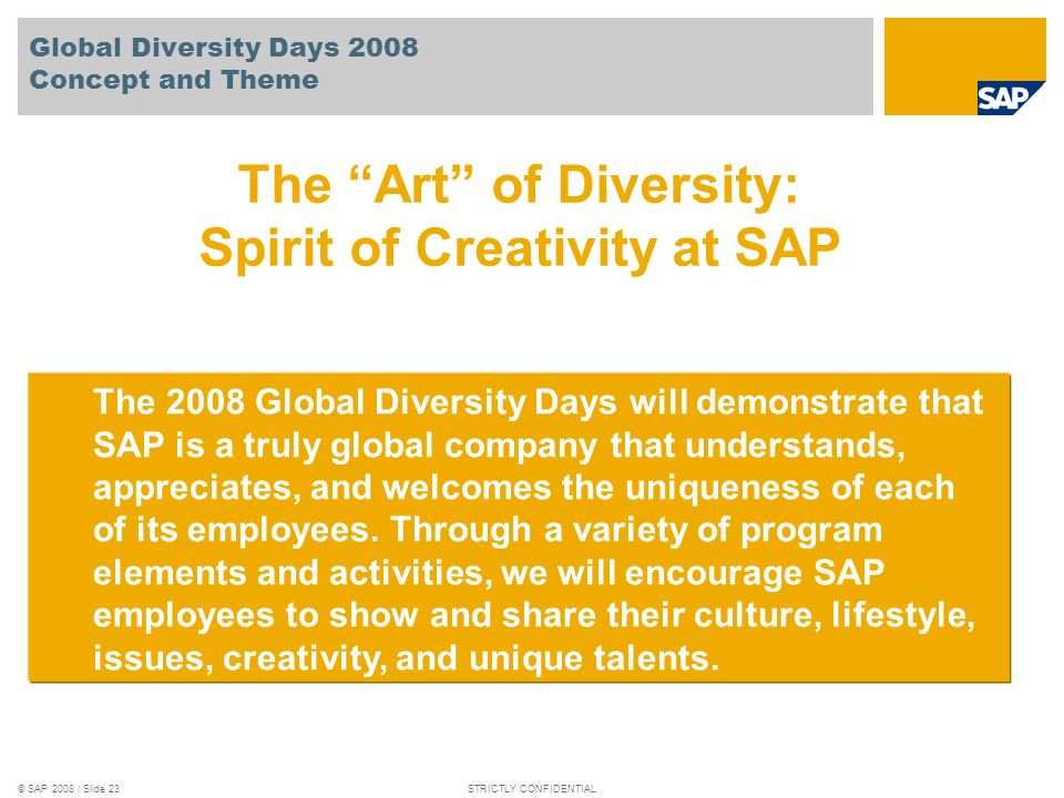 Global Diversity Days 2008 Concept and Theme