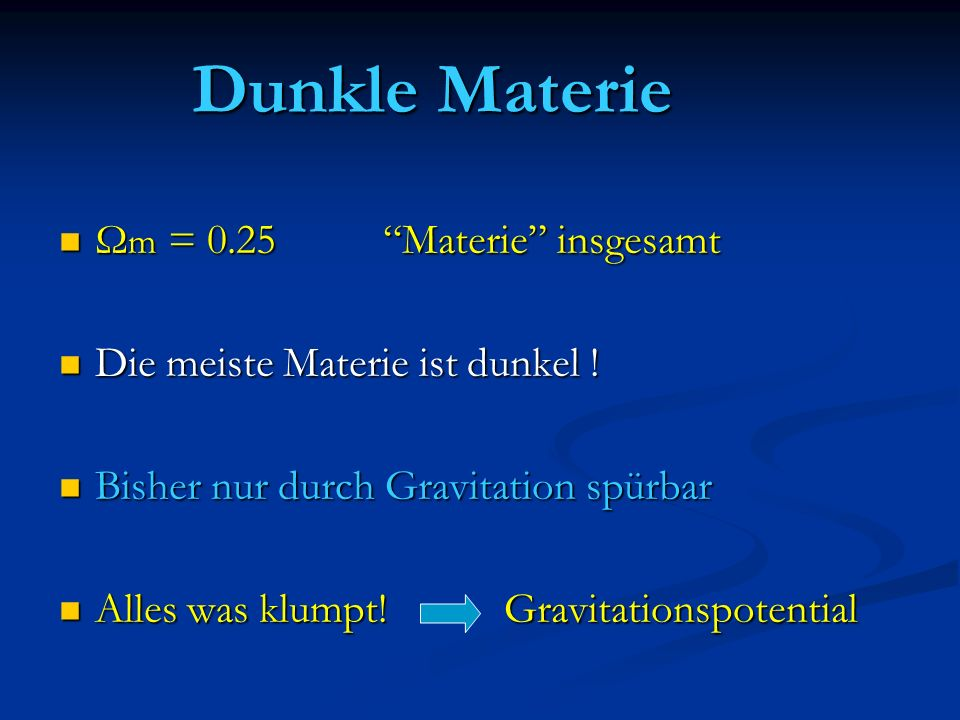 Dunkle Materie Ωm = 0.25 Materie insgesamt