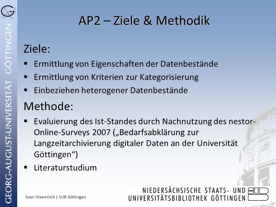 AP2 – Ziele & Methodik Ziele: Methode: