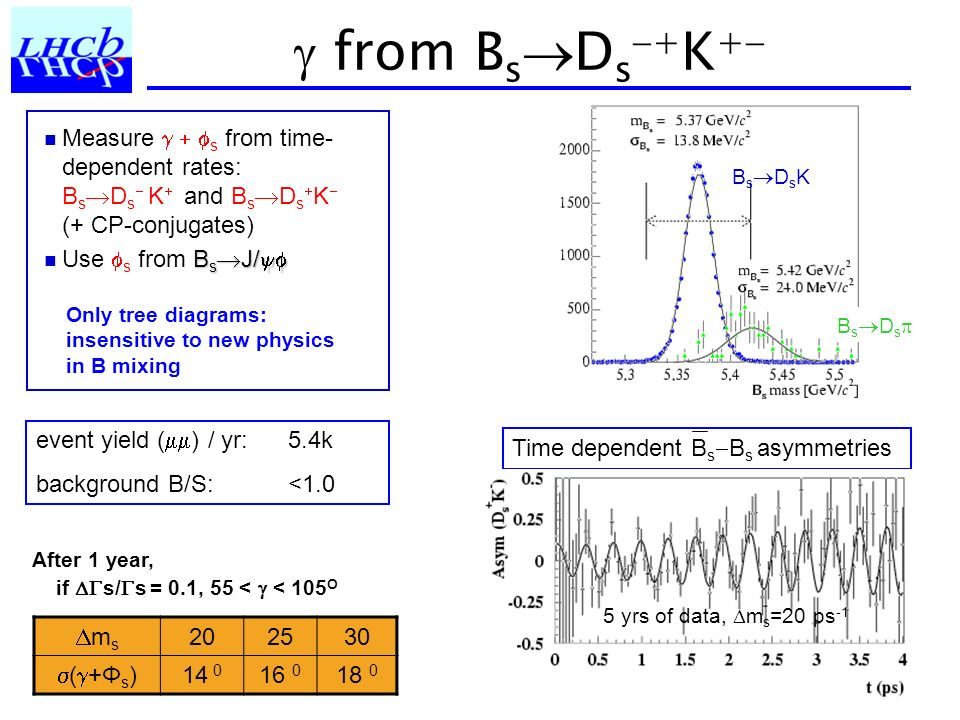  from BsDs+K+ Measure   s from time-dependent rates: BsDs K and BsDsK (+ CP-conjugates)