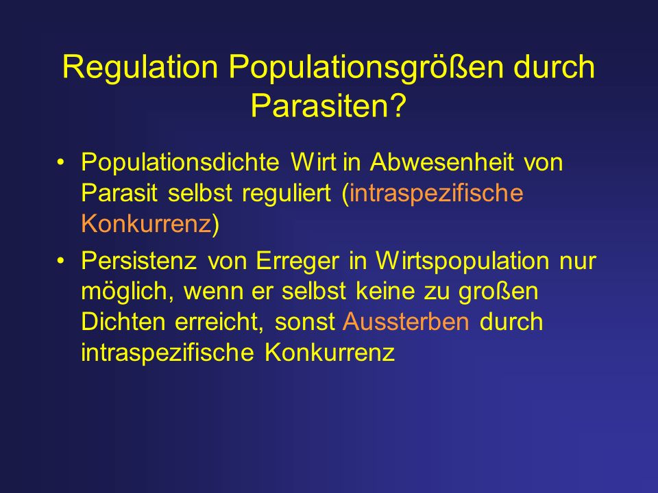 Regulation Populationsgrößen durch Parasiten