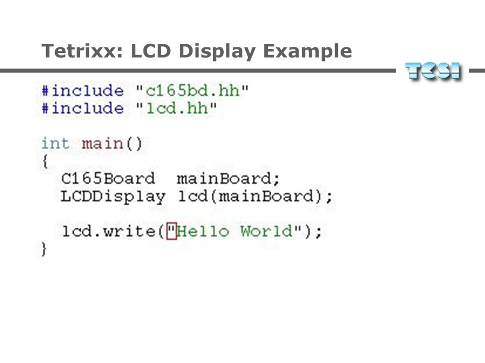 Tetrixx: LCD Display Example