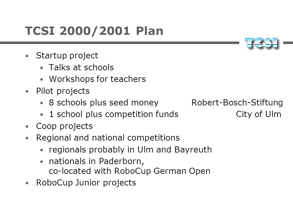 TCSI 2000/2001 Plan Startup project Talks at schools