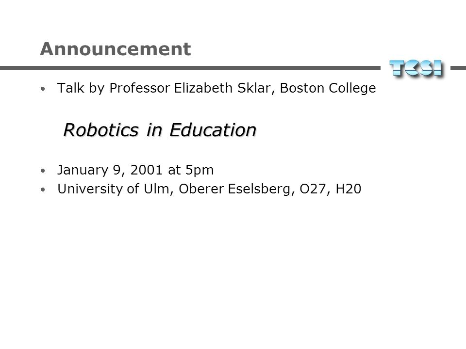 Announcement Robotics in Education