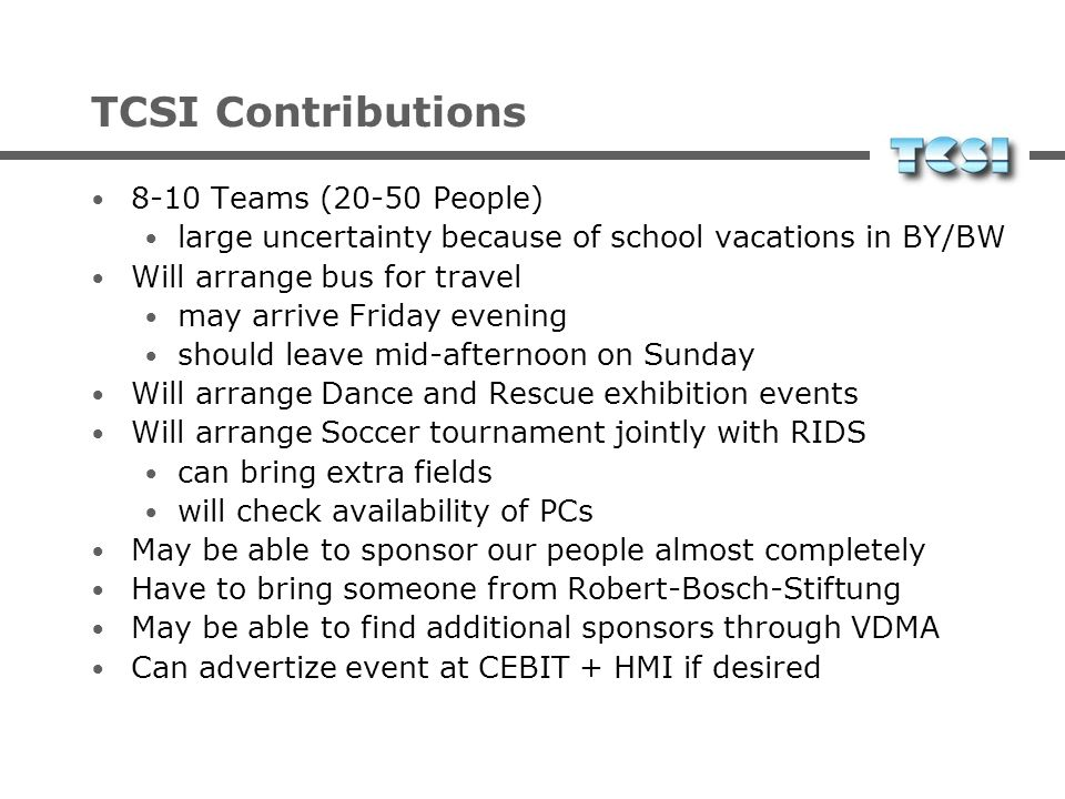 TCSI Contributions 8-10 Teams (20-50 People)