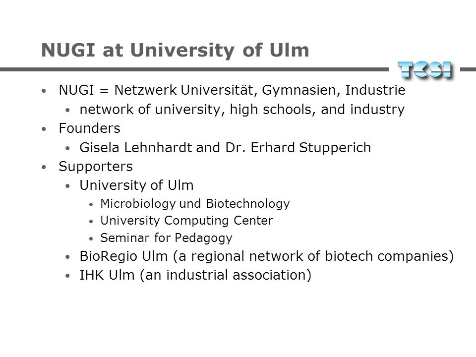NUGI at University of Ulm