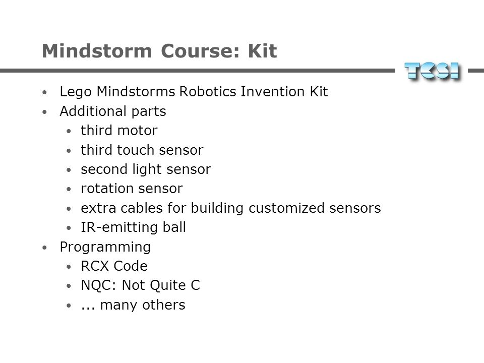 Mindstorm Course: Kit Lego Mindstorms Robotics Invention Kit