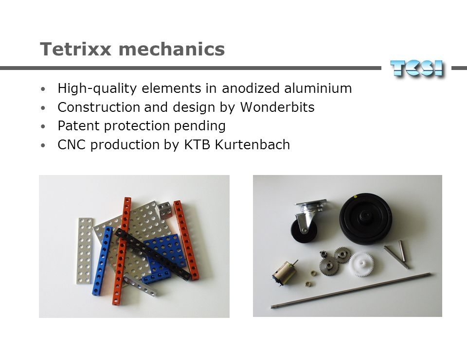 Tetrixx mechanics High-quality elements in anodized aluminium