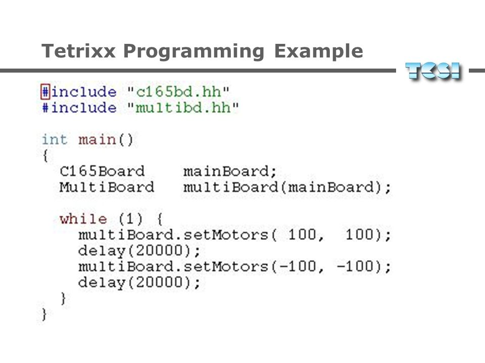 Tetrixx Programming Example