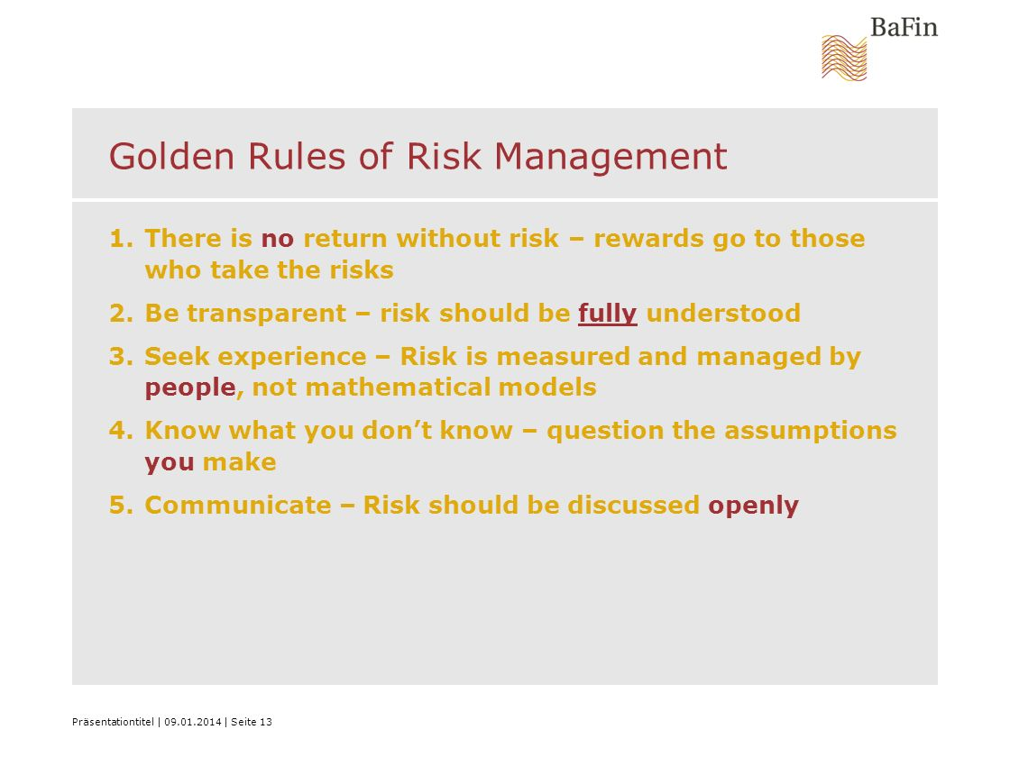 Golden Rules of Risk Management