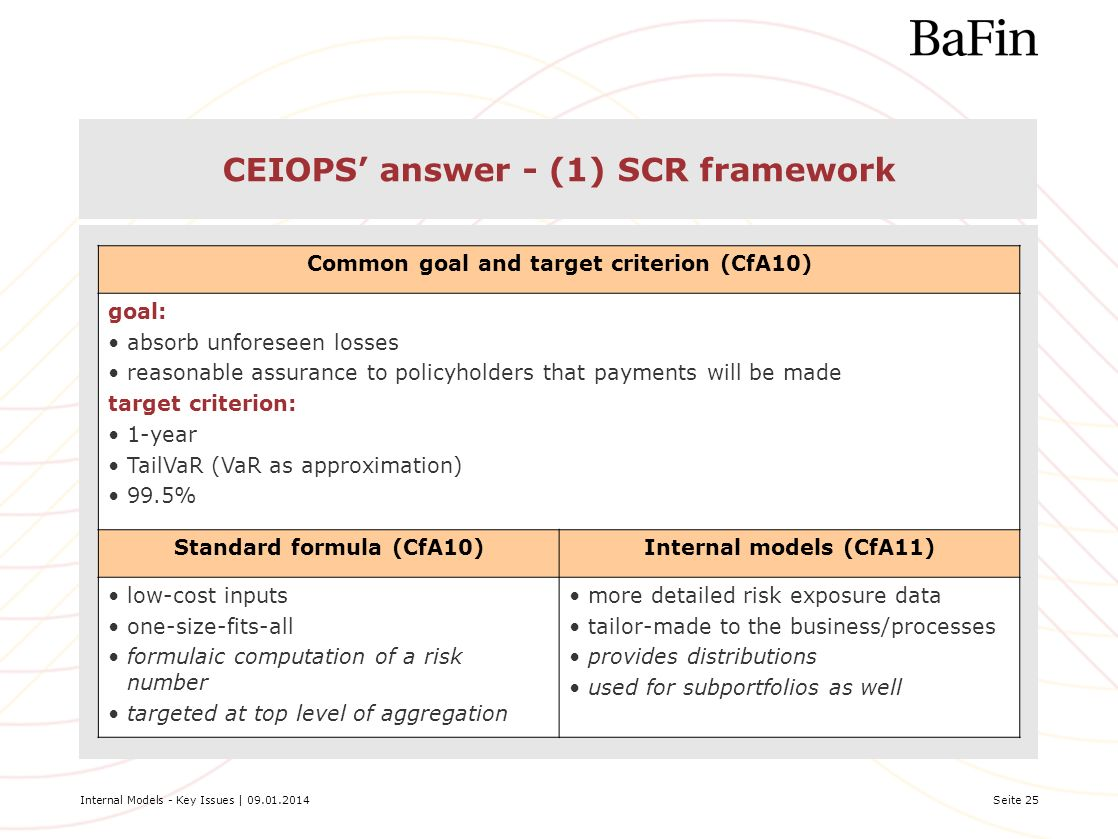 CEIOPS' answer - (1) SCR framework
