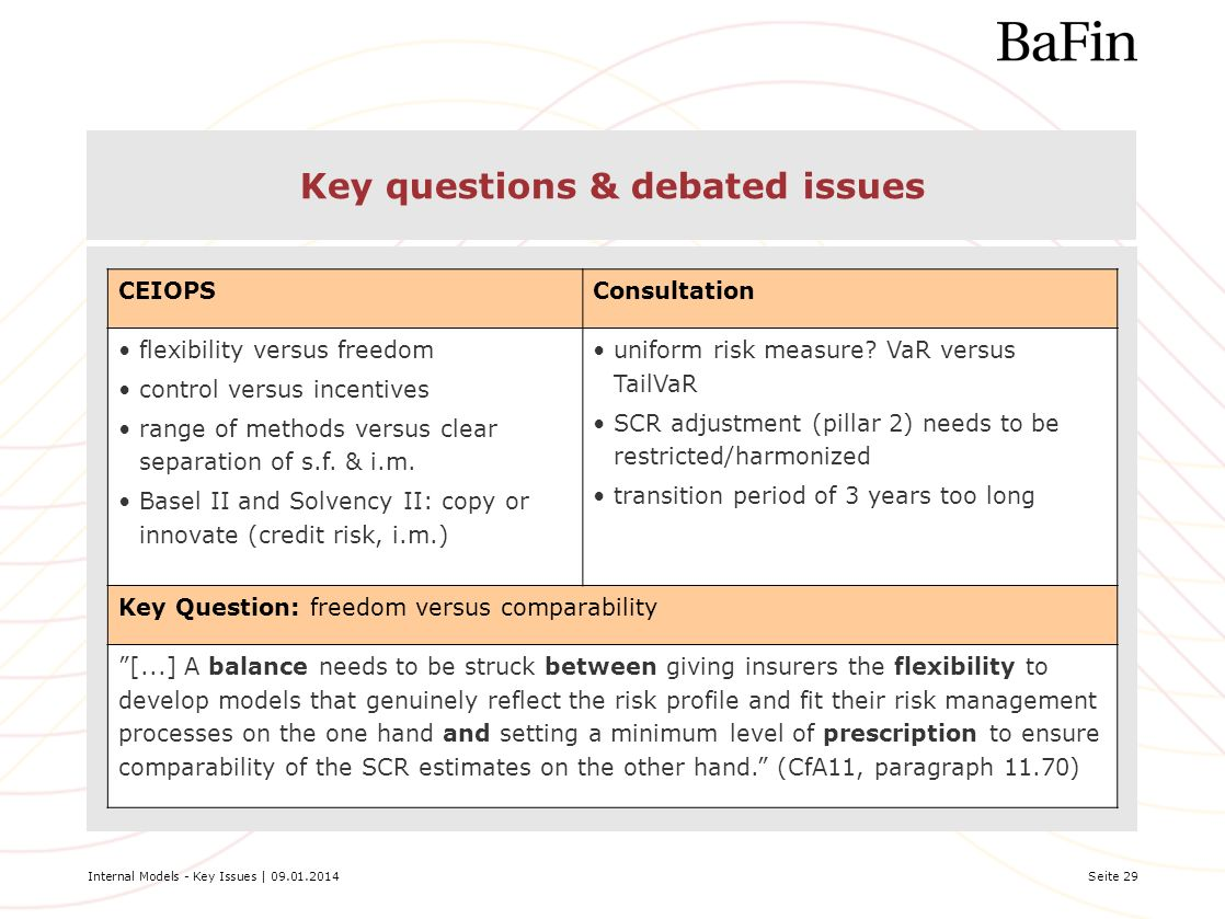 Key questions & debated issues