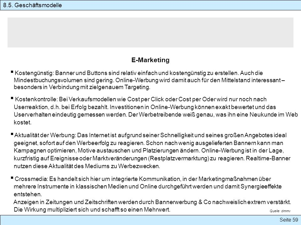 E-Marketing 8.5. Geschäftsmodelle