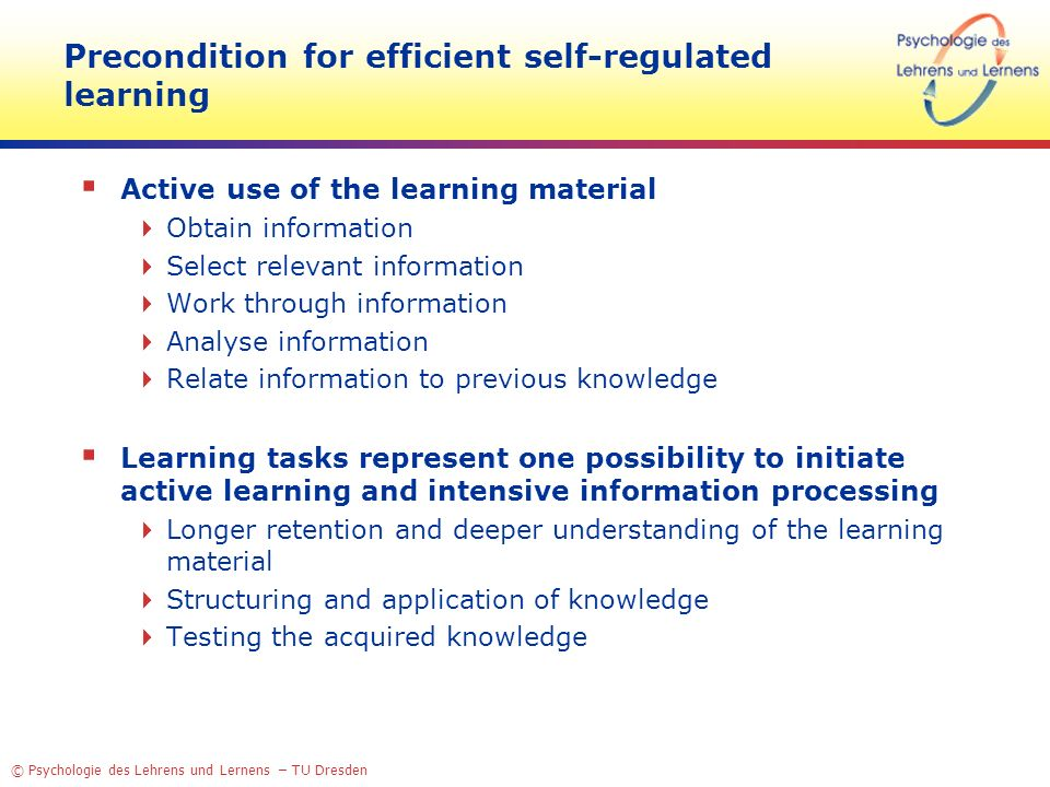 Precondition for efficient self-regulated learning