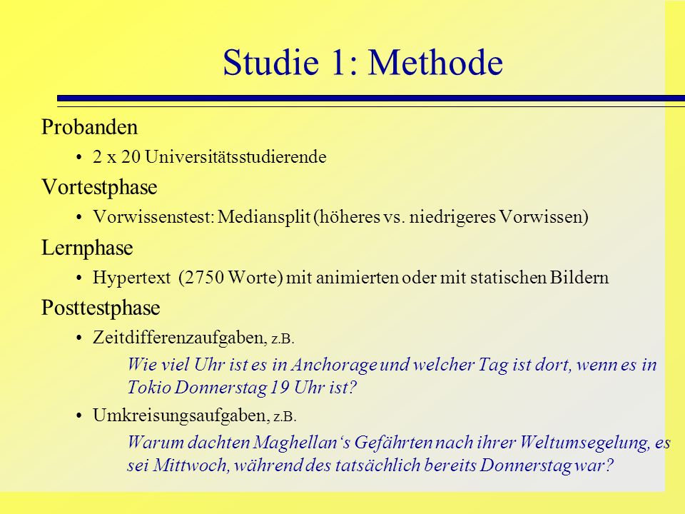 Studie 1: Methode Probanden Vortestphase Lernphase Posttestphase