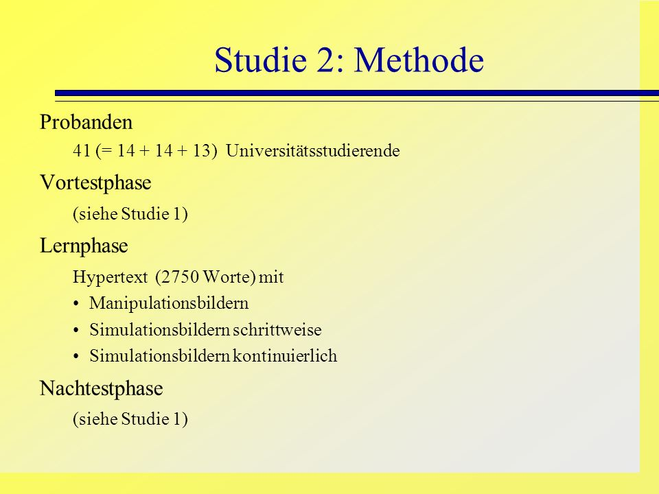 Studie 2: Methode Probanden Vortestphase Lernphase Nachtestphase
