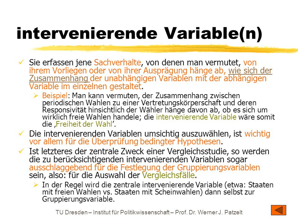 intervenierende Variable(n)