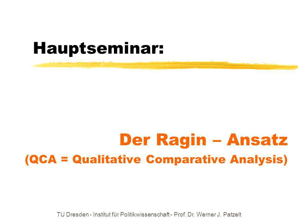 Der Ragin – Ansatz (QCA = Qualitative Comparative Analysis)