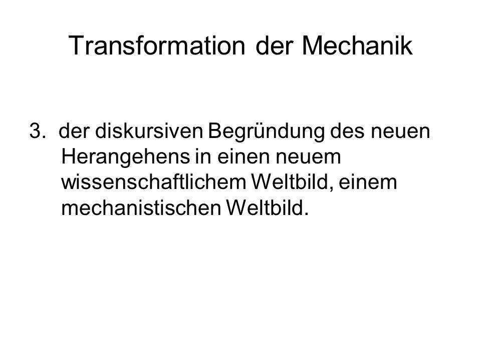 Transformation der Mechanik