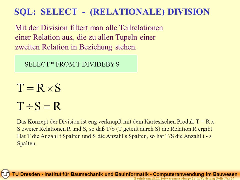 SQL: SELECT - (RELATIONALE) DIVISION