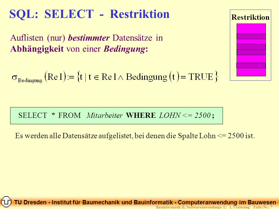 SQL: SELECT - Restriktion