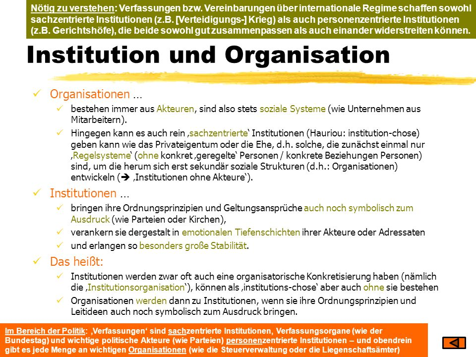 Institution und Organisation