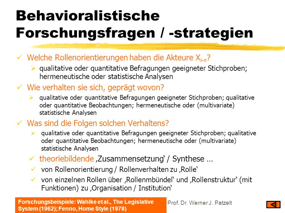 Behavioralistische Forschungsfragen / -strategien