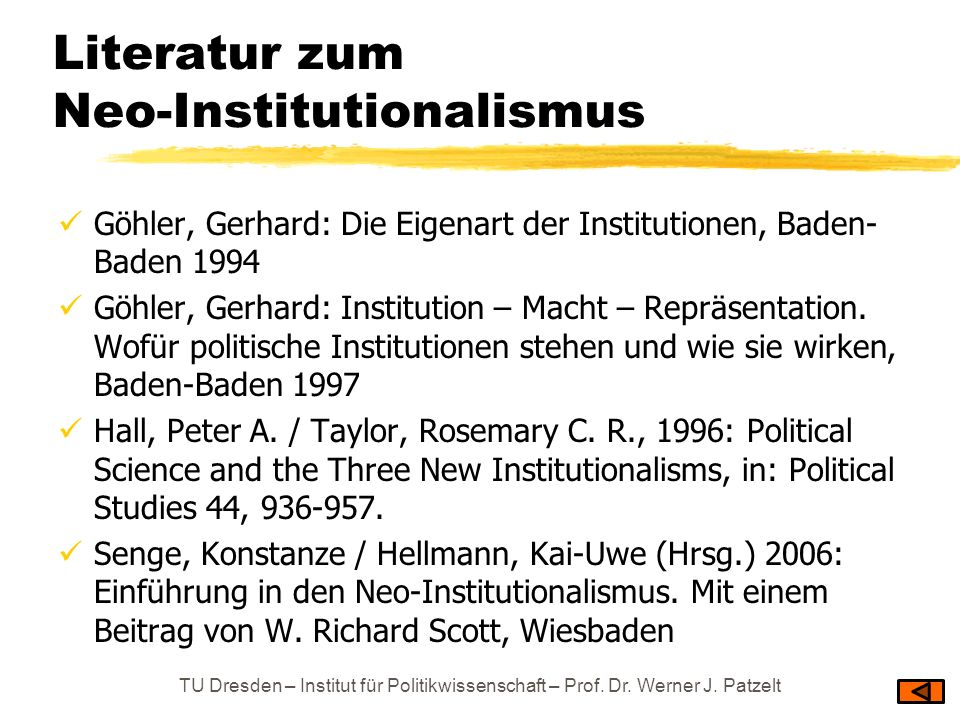 Literatur zum Neo-Institutionalismus