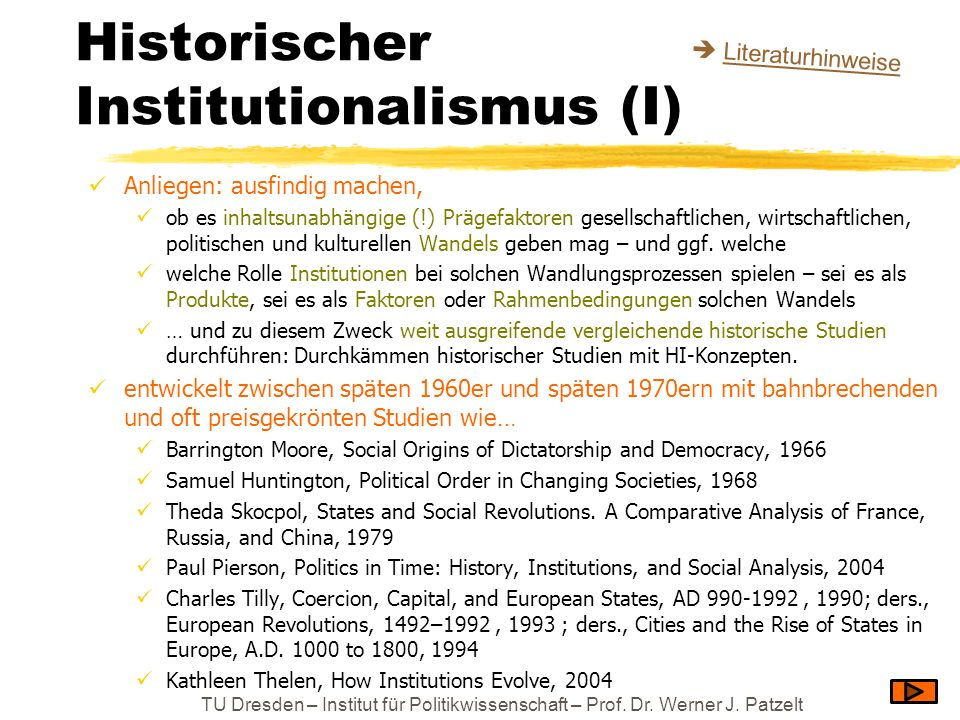 Historischer Institutionalismus (I)