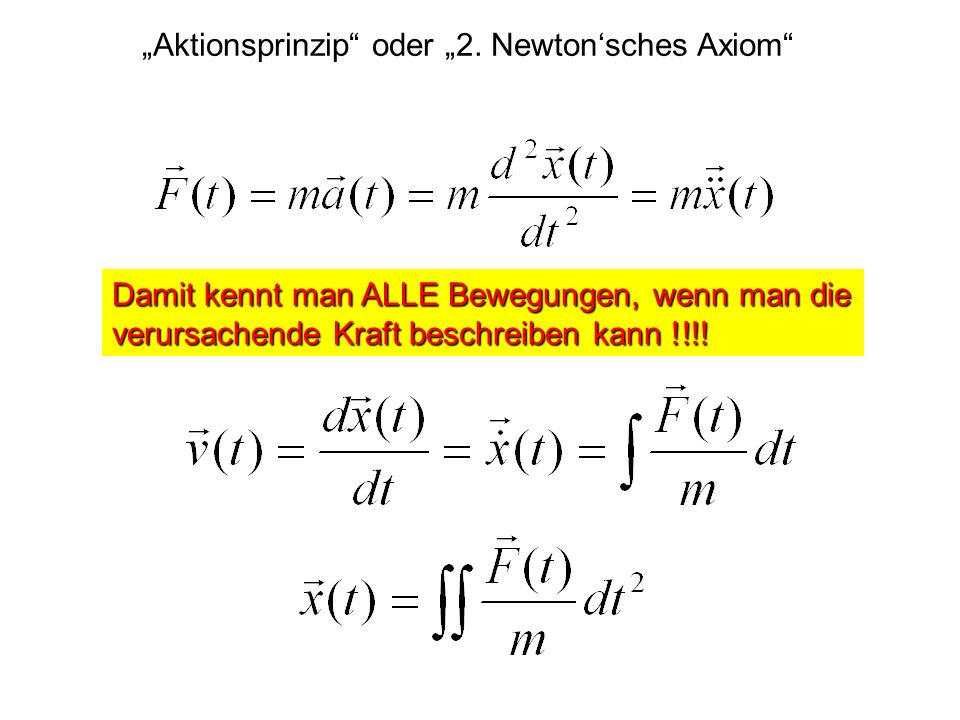 """Aktionsprinzip oder ""2. Newton'sches Axiom"