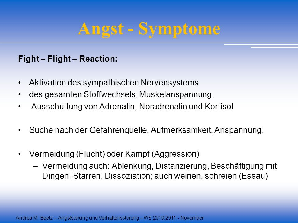 Angst - Symptome Fight – Flight – Reaction: