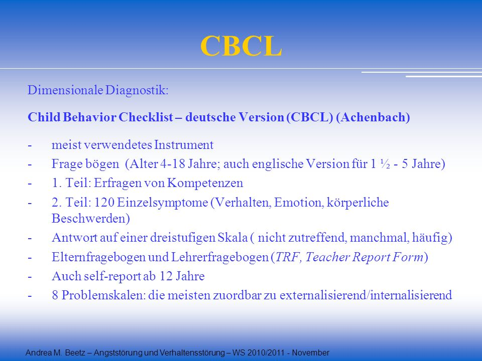 CBCL Dimensionale Diagnostik: