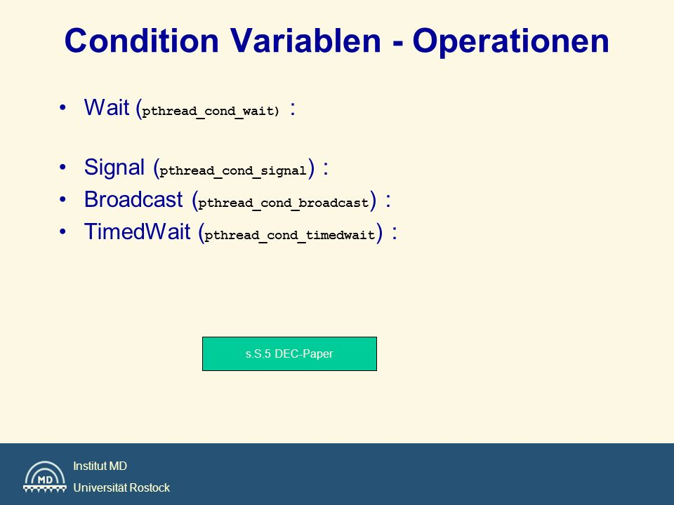 Condition Variablen - Operationen