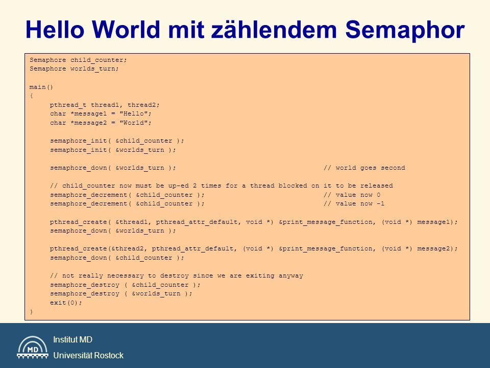 Hello World mit zählendem Semaphor