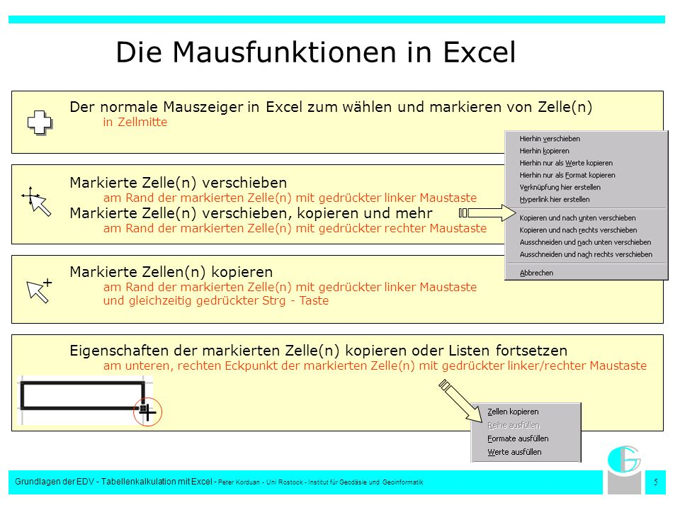 Die Mausfunktionen in Excel