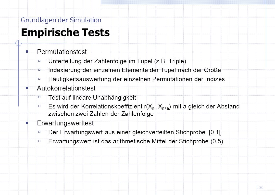 Grundlagen der Simulation Empirische Tests