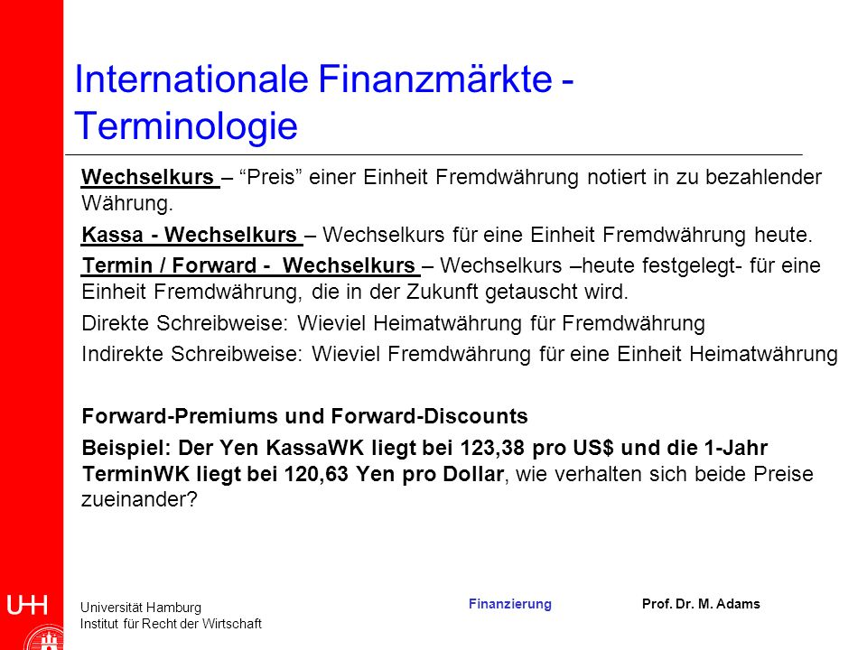 Internationale Finanzmärkte - Terminologie