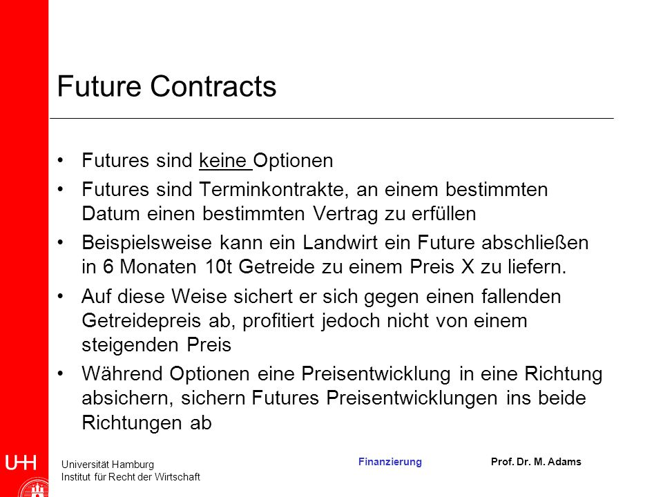 Future Contracts Futures sind keine Optionen