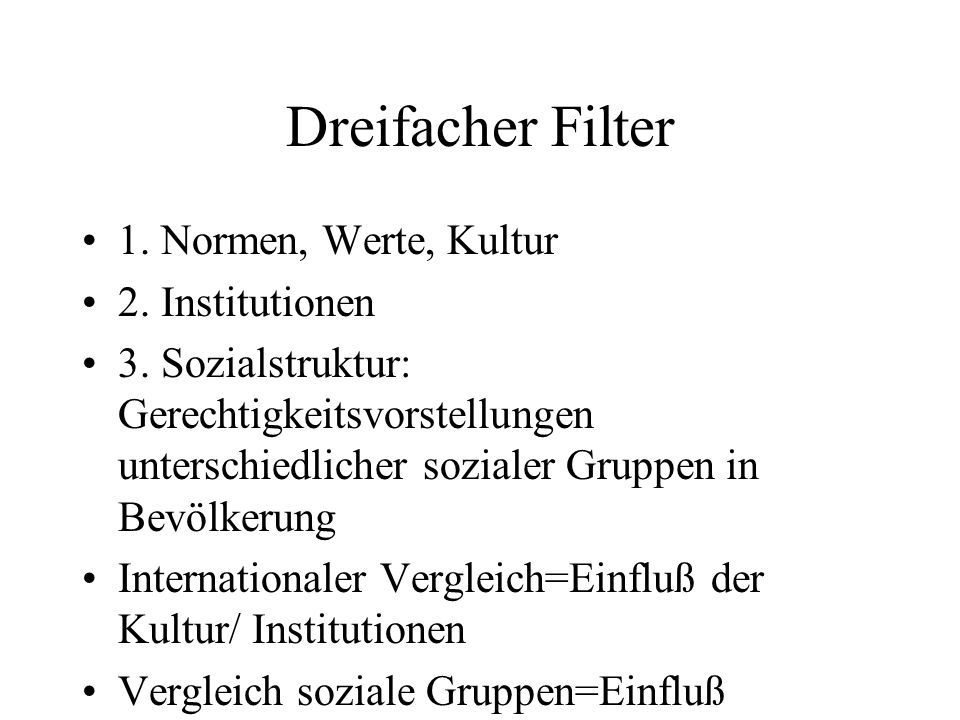 Dreifacher Filter 1. Normen, Werte, Kultur 2. Institutionen