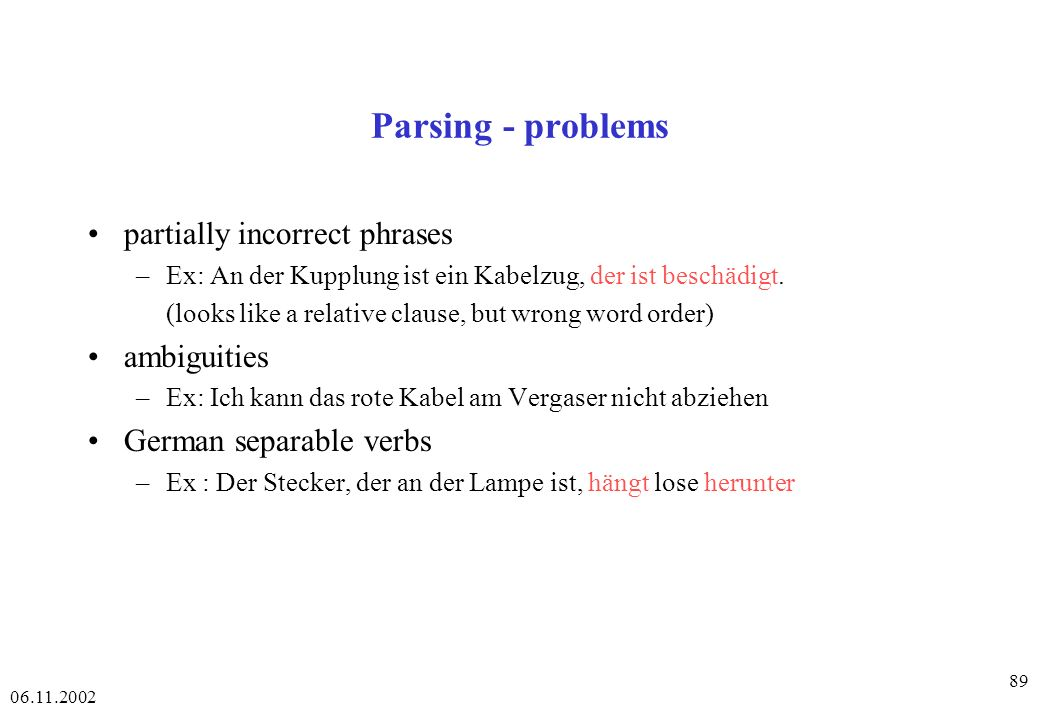 Parsing - problems partially incorrect phrases ambiguities