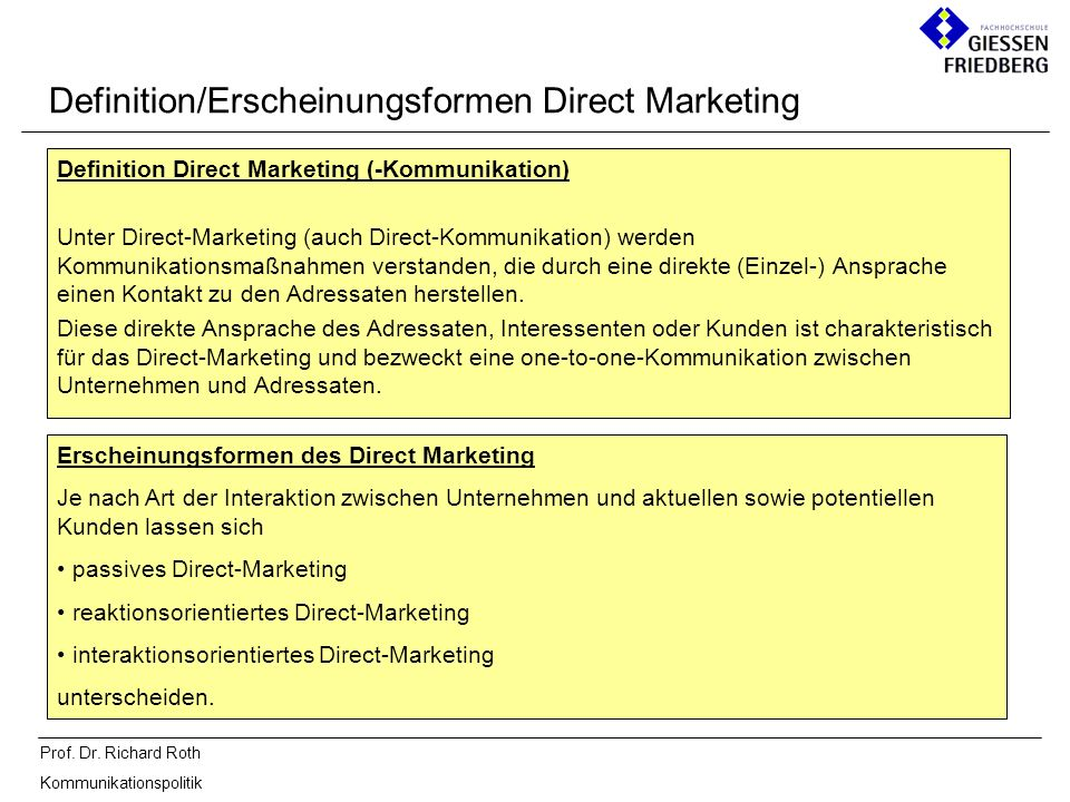 Definition/Erscheinungsformen Direct Marketing