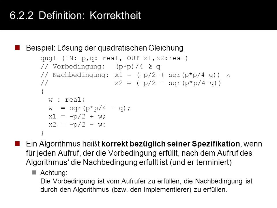 6.2.2 Definition: Korrektheit