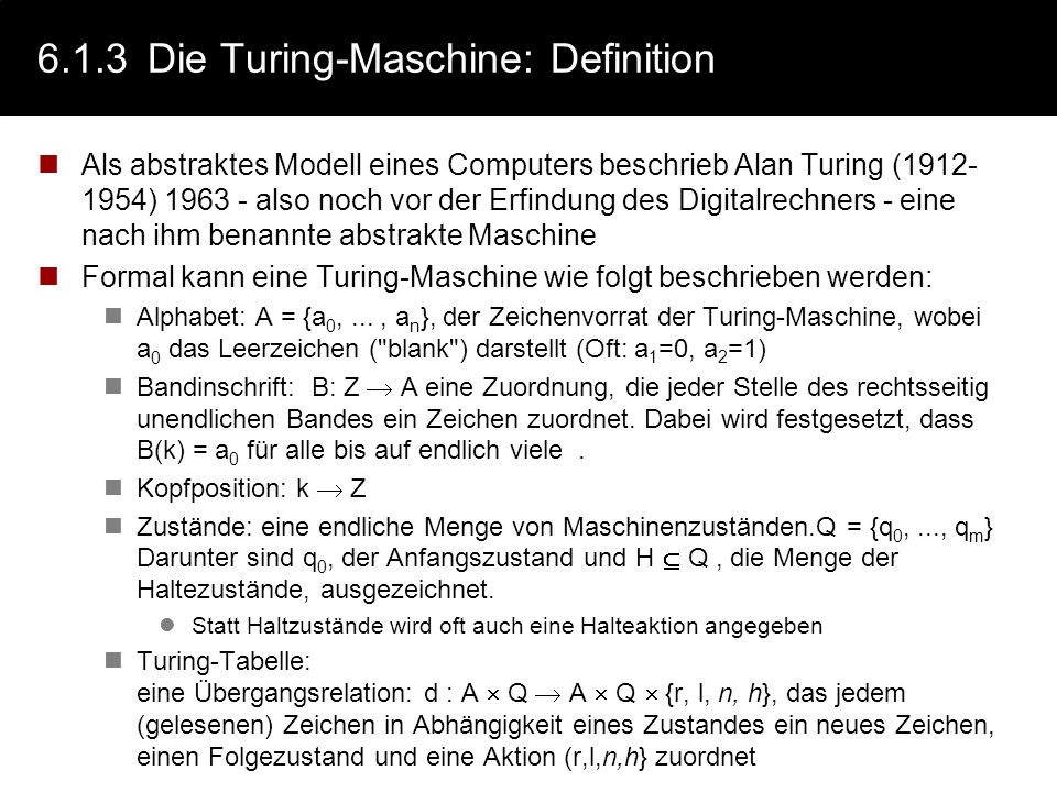 6.1.3 Die Turing-Maschine: Definition