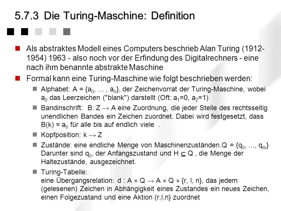 5.7.3 Die Turing-Maschine: Definition