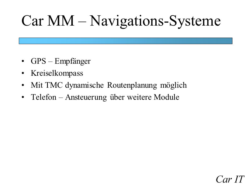 Car MM – Navigations-Systeme